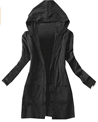 AZIZY Women's Black Casual Long Sleeve Basic Soild Knit Hooded ...