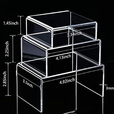 Soportes de exhibición de acrílico transparente, 2 juegos de 3 estantes de exhibición para figuras, buffets, cupcakes y soportes de exhibición de joyería, con película protectora pegajosa: Amazon.es: Hogar