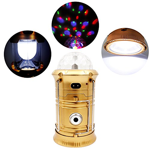 7TECH 3-in-1 Rechargeable Collapsible LED Camping Lantern Ultra Bright Portable Hand-held Flashlight Spinning Stage Emergency Lantern with USB Port (Gold)