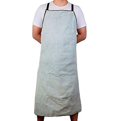 QEES - Delantal de soldadura de cuero, retardante de llama y calor, con bolsillo