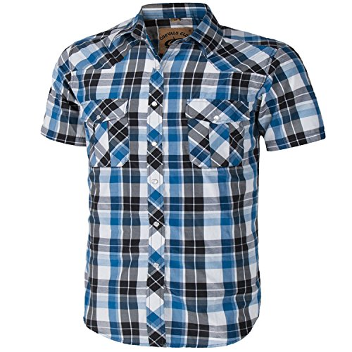Coevals Club Men's Short Sleeve Casual Western Plaid Buttons Shirt (XL, ()