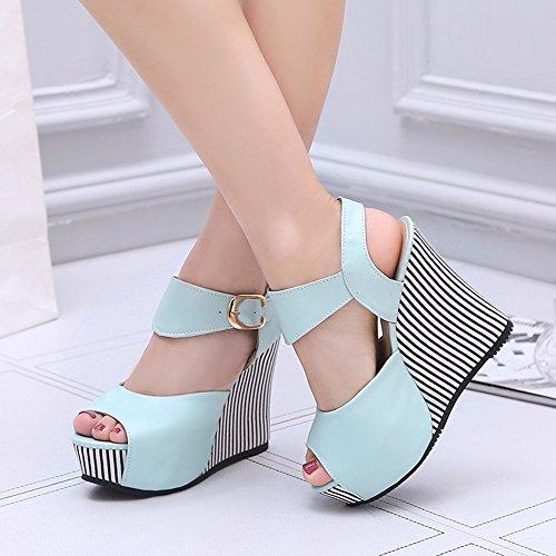Sandalias Mujer Hebilla Zapatos de tac Boca de Modelos Moda Verano Pescado Plataforma Slope de de Impermeable aq4p5wOq
