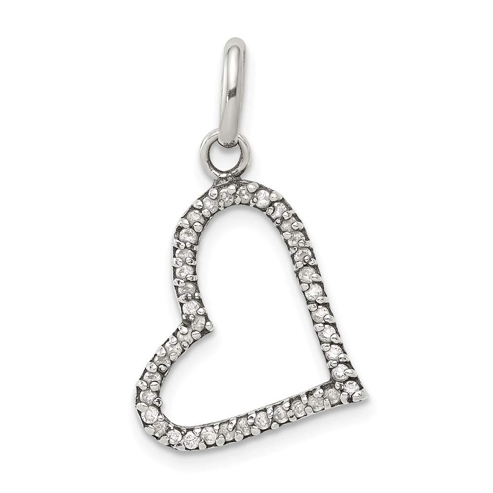 925 Sterling Silver Cubic Zirconia Heart Shaped Pendant