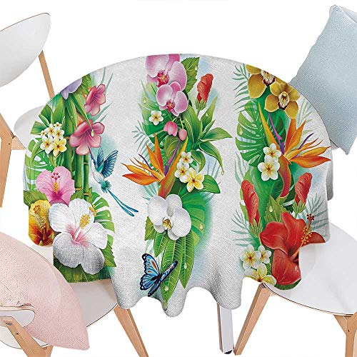 cobeDecor Watercolor Flower Dinning Round Tabletop DecorTropical Christmas Bouquet Tropical Hibiscus Blossoms Leaf Butterfly Round Table Cover for Kitchen D36 Multicolor
