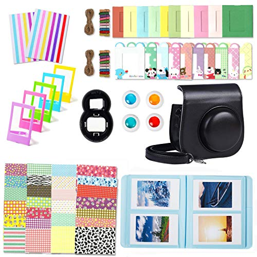 Leebotree Camera Accessories Compatible with Instax Mini 9 or Mini 8 8+ Include Case/Album/Selfie Lens/Filters/Wall Hang Frames/Film Frames/Border Stickers/Corner Stickers (Black)