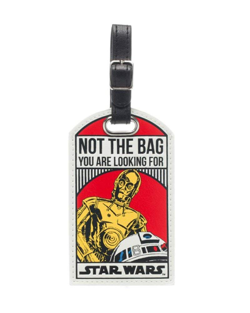 Star Wars R2-D2 C-3PO Not the Bag You Are Looking For Droids Luggage Tag w/BONUS Steel Cable by Bioworld