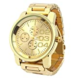 Mens Gold Tone Over Size Metal Band Gold Face Fashion Casual Quartz Wrist watches 0123