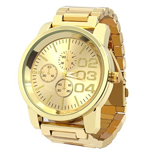 Gold Watch Face (Mens Gold Tone Over Size Metal Band Gold Face Fashion Casual Quartz Wrist watches)