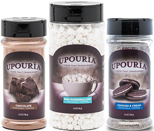 Upouria Chocolate Flavored, Cookies & Cream and Mini Marshmallows Topping Shakers - Set of 3 - Flavored Marshmallows