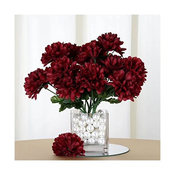 Tableclothsfactory 84 Chrysanthemum Mums Balls Artificial Wedding Flowers – Burgundy