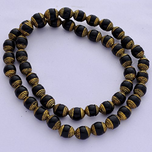 Tibetan Brass Onyx - Brass Black Onyx Tibetan Style 50 Beads Nepal B02