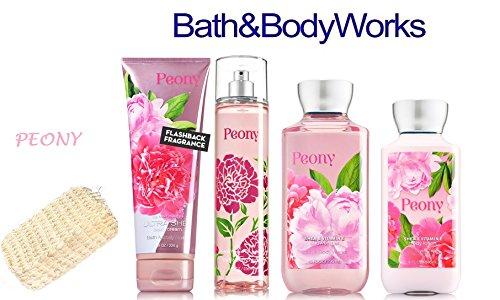 (Bath & Body Works PEONY Deluxe Gift Set Lotion ~ Cream ~ Fragrance Mist ~ Shower Gel + FREE Sisal Sponge Lot of 5)