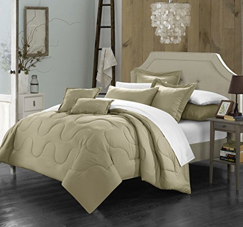 (Perfect Home 7 Piece Demaria Bedding Basics, Down Alternative Solid color complete bedding ensemble, Full/Queen, Taupe)