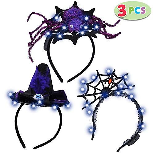 JOYIN 3 Pack LED Halloween Headbands for