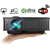 Full HD Wireless Projector, Boscheng Portable LCD Movie Projector 1080p 1500 Lumens Home Cinema Projector Multimedia WiFi Projector Works with iPhone iPad Airplay Android MiraCast Wireless Display