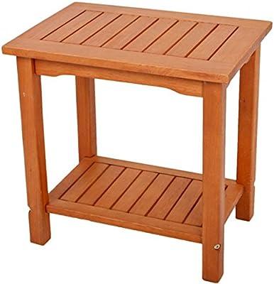 Mesa auxiliar Acacia barnizada 50 x 35 x 50 estantes de madera madera mesa de jardín Balcón Muebles: Amazon.es: Jardín