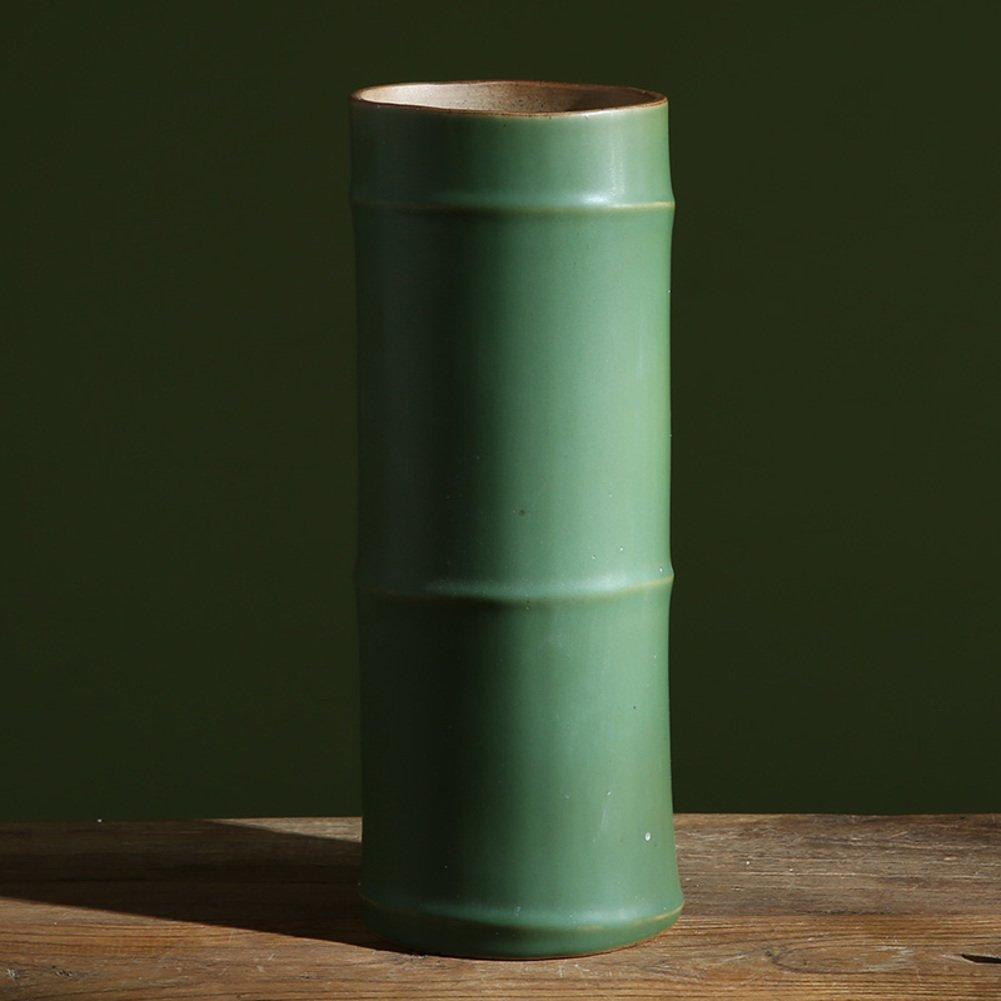 緑の陶製の花瓶で人造竹,創作花のアレンジャー-A B07CQN53BY  A