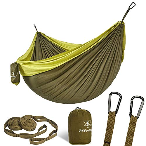 pys Double Portable Camping Hammock with Straps Outdoor -Nylon Parachute Hammock with Tree Straps...