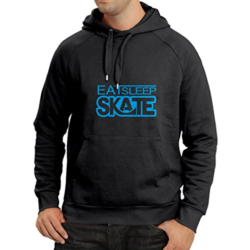 Hoodie Eat Sleep Skate - for Skaters, Skate Longboard, Skateboard Gifts (Small Black Blue)