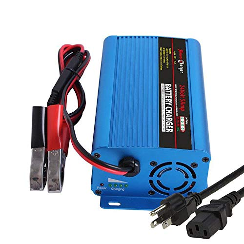 24V 5Amp Automatic Battery Charger Maintainer, Car Battery Charger Maintainer with Alligator Clips for Scooter, Wheelchair, Motorcycle, eBike, Lawn Mower Electric Tools Emergency Light etc
