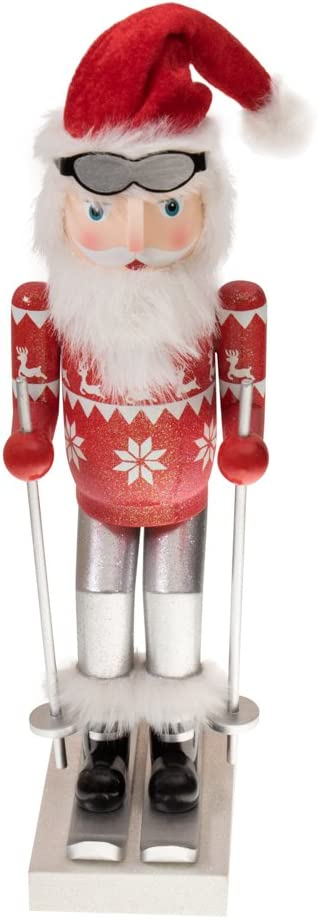 "Clever Creations Skiing Santa Nutcracker Classic Collectible Nutcracker | Festive Christmas Decor | Red Sweater, Santa Hat, Goggles & Skis | Perfect for Shelves and Tables | 100% Wood | 14"" Tall"