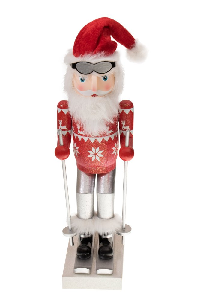 Clever Creations Skiing Santa Nutcracker Classic Collectible Nutcracker | Festive Christmas Decor | Red Sweater, Santa Hat, Goggles & Skis | Perfect for Shelves and Tables | 100% Wood | 14'' Tall