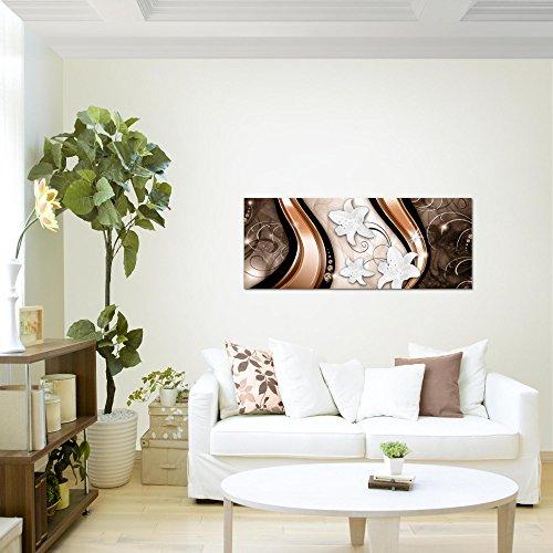 Bilder-Blumen-Lilien-Wandbild-100-x-40-cm-Vlies-Leinwand-Bild-XXL-Format-Wandbilder-Wohnzimmer-Wohnung-Deko-Kunstdrucke-Braun-1-Teilig-100-MADE-IN-GERMANY-Fertig-zum-Aufhngen-210212a