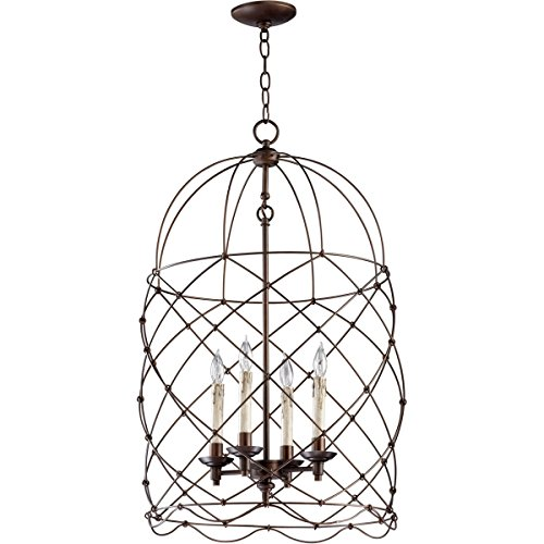 Cyan Design 04756 Bird Cage Collection Adele 4-Light Foyer Pendant, Oiled Bronze Finish - Transitional Hudson Lamp Table