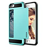 iPhone 5S Case, Vofolen® iPhone 5S Wallet Case Impact Resistant Hybrid Armor Defender Snap-on Black Soft Rubber Bumper Cover Skin Protective Shell with Card Slot Holder for iPhone 5S/5 (Sky Blue)