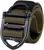 Kaibaoxi Tactical Belt, Military Style Webbing Riggers Web Belt Heavy-Duty Quick-Release Metal Buckle