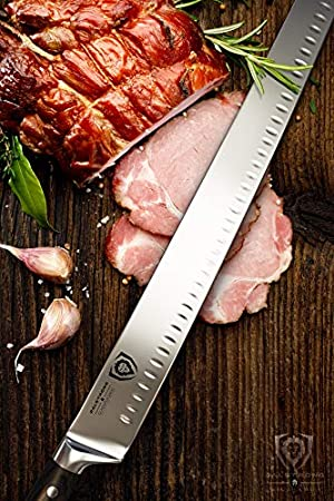 DALSTRONG Cuchillo de corte extralargo de 35,5 cm (35,5 cm) - Borde Granton - Serie Gladiator - Acero alemán HC - Mango G10 - Funda incluida - Certificado NSF