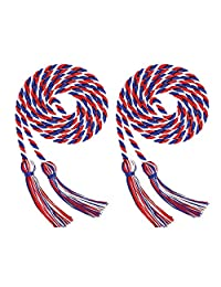 Volwco 2 Pieces Graduation Cords Polyester Yarn Honor Cord, Honor Cords, Graduation Cords, Honor Cord Tassels for Graduation Students, White Red Blue Graduation Cord