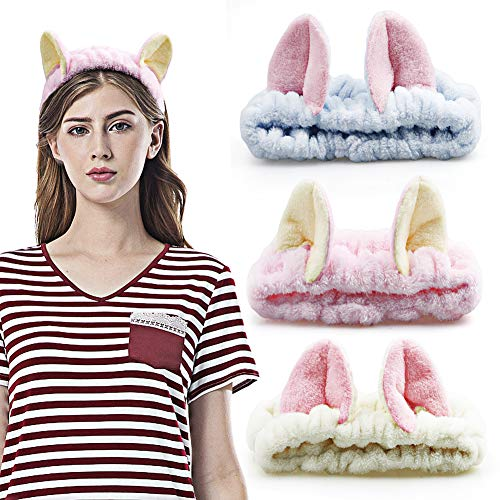 3 Pcs Hogoo Spa Headband Cute Cat Ear Facial Makeup Hair Band Terry Cloth Headbands for Women for Washing Face Beauty Skincare Shower