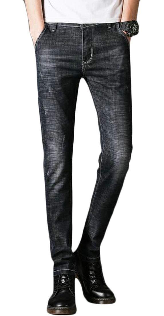 Domple Men's Slim Fit Stretch Washed Slim-Tapered Jeans Denim Pants Grey US 31