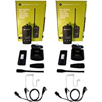 QTY 2 Motorola RDU4160D UHF 4 watt 16 channel radio and Surveillance Headset