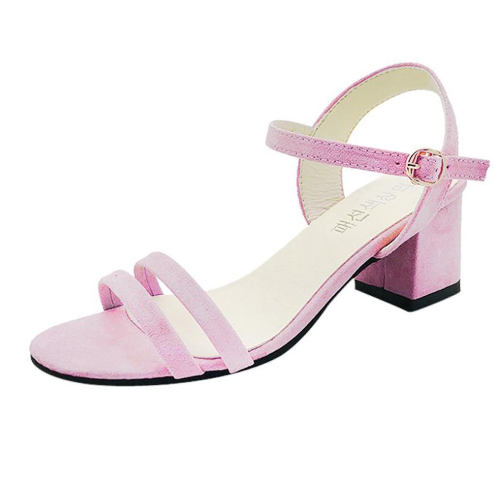 6e9a515a36a7 Clearance Sale!OverDose Ladies Block High Heel Sandals Flowers Adorn Buckle  High Heels Shoes