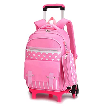 310e38844c5f Jumedy Waterproof Six-wheel Climbing Stairs Children s Schoolbag Primary School  Trolley Bag Boys and Girls Students 2-3-6 Grade (color   PINK)  ...