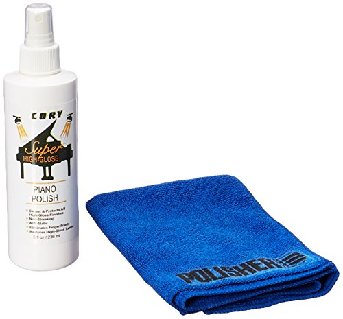 - Super High Gloss Piano Polish Bundle - 8oz bottle w/Microfiber Polishing Cloth - Distributed by A Fully Authorized Cory Products Dealer