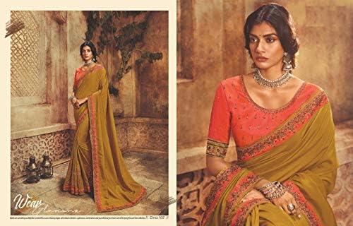 Senape Party wear Sarees Sari indiano Bollywood Ricamo Fancy Border Gonna Lavoro Designer Camicetta 8440