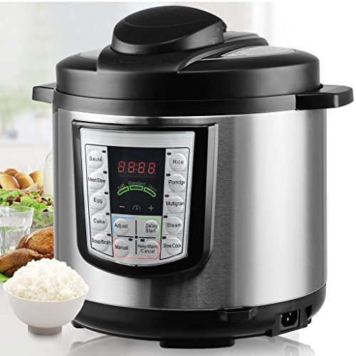 6QT, 14-in-1 Multi-Functional Smart Programmable Digital Pressure Cooker, Slow Cooker,Egg Cooker, Cake Maker, Sauté, Steamer, Warmer, and Sterilizer, Countertop Pressure Cookers w/Gift Cooking Sets by Fitnessclub