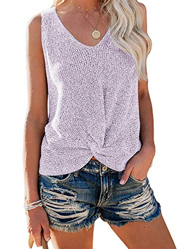 (Ybenlow Womens Summer V Neck Sleeveless Sweater Twist Knot Casual Loose Knit Tank Tops (Small, Purple))