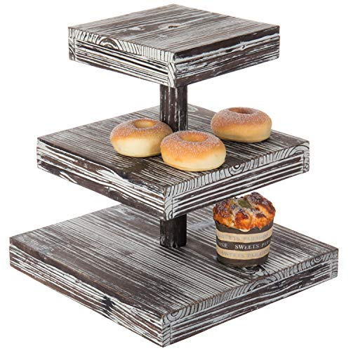MyGift 12-Inch 3-Tier Torched Wood Dessert/Appetizer Stand