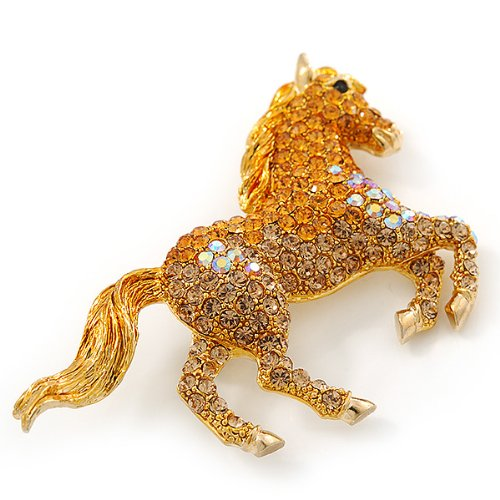 Orange Gold/ Citrine Pave Set Austrian Crystal 'Horse' Brooch In Gold Plating - 65mm Across by Avalaya (Image #1)