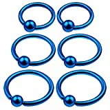 6Pcs Blue Anodized 6mm 8mm 10mm 16g Captive Bead Ring Piercing Jewelry Cartilage