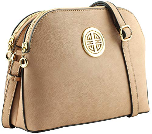 Multi pockets functional dome shape cross body bag with gold tone emblem (Rose Pink)