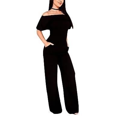 687ba0aa64 Joseph Costume Women's Sexy Off Shoulder Ruffles High Waist Straight Leg  Pants One Piece Jumpsuit Long