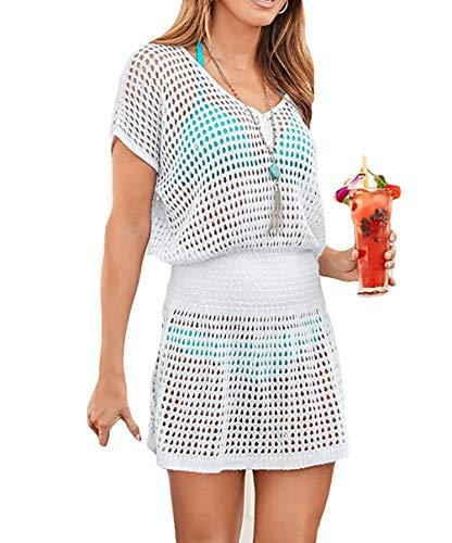 (MeiLing Women's Sexy Crochet Knit Swimsuit Cover Up Tunic Top Swimwear Hollow Out Beach Mini Dress (White B))