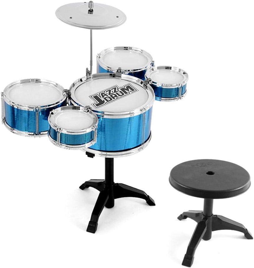 Currentiz Kinder Schlagzeug Spielzeug Drumset Musik Instrumente Spielzeug Drum Set Mit Hocker F/ür Kinder Musikinstrument 5 Trommeln Spielzeug