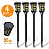 MOOSENG Solar Torch Outdoor Upgarded IP65 Waterproof Decorative Flickering Flame Powered 96LED Dusk to Dawn Path Light Perfect for Garden,Lawn,Front Door,Yard,Wall lamp-Pack of 4, 4Pack
