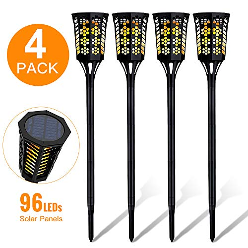 Romatpretty Solar Torch Light, 96 LEDs Outdoor Waterproof Flickering Flames Oxyled Bubble Torches Lights for Dancing Patio Landscape Garden Path Yard Wedding Party (4 Pack)